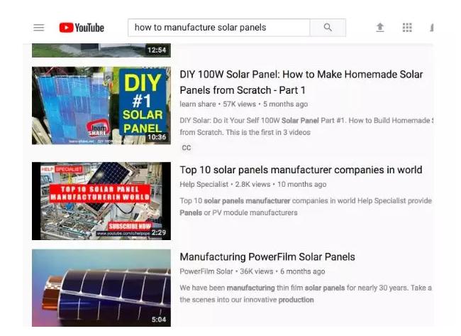 "YouTube上关于""太阳能板是如何制造的""视频也有大量观众在看"